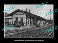 OLD LARGE HISTORIC PHOTO OF BELLEFONTAINE OHIO, THE RAILROAD DEPOT STATION c1910