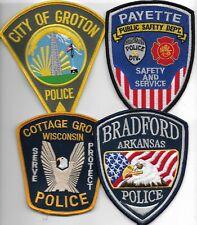 SET Nr.17:  4 Stück USA  Police Patch CT ID WI AR  Polizei Abzeichen je 11-12 cm