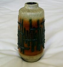 Veb Haldensleben 3056 East German Embossed Art Pottery Modernist Vase