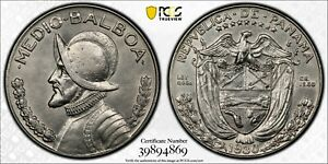 1930 BRIGHT WHITE PANAMA BALBOA SILVER 1/2 PCGS AU55 GOLD SHIELD TRUE VIEW COIN!