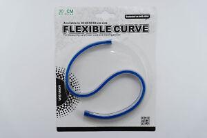 flexibles Kurvenlineal BLAU mit cm/inch Teilung aus Vinyl Länge 30cm