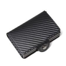 Leather Credit Card Holder RFID Blocking Pop-up Wallet Money Clip 14 card CARBON