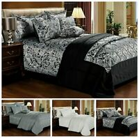 3 Piece Quilted Jacquard Bedspread Comforter Bed Throw Set Single Double & King