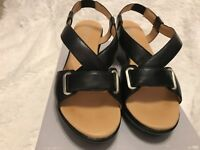 NEW IN BOX LOCKPORT Women's MIKNES BLACK SLIP-ON STRAPPY SANDALS WEDGE SIZE 8