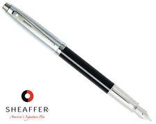 Sheaffer 100 Gloss Black w/ Brushed Chrome Cap Medium Point Fountain Pen
