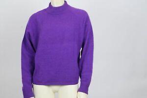 RICHARDS & JONES Lambswool Purple Knit Mock Neck Sweater Size L