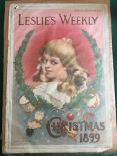Leslies Weekly 1899 Christmas Magazine Cover Only!