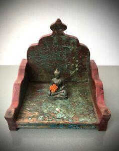 ANTIQUE INDIAN HINDU SHRINE / HOME ALTAR. TURQUOISE, TEAL, BURGUNDY & JADE