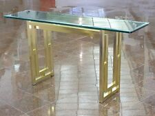 MODERNIST 70's STYLE OF ROMEO REGA FOYER CONSOLE TABLE w/ BEVELED GLASS TOP