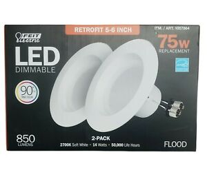 2 Pack 75W 850 Lumens Dimmable LED Recessed Retrofit Lighting Kit 5-6 Inch New