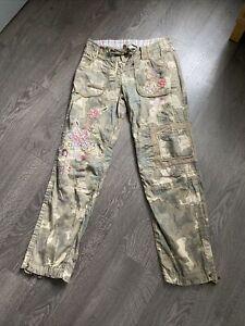 Ladies Next Camouflage Floral Pants Size 10R W32 L30 (G31)