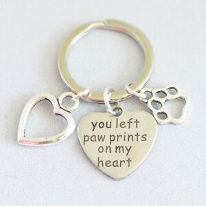 """""""you left paw prints on my heart"""", memorial key ring dog cat alloy"""