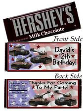 12 Army Tanks Birthday Party Hershey Candy Bar Wrappers USA Flag Patriotic