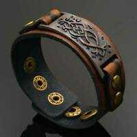 Men's Gothic Rock Punk Wide Leather Belt Bracelet Cuff Charm Wristband Bangle