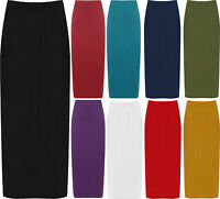 New Womens Plus Size Plain Long Ladies Stretch Elasticated Maxi Skirt 14 - 28