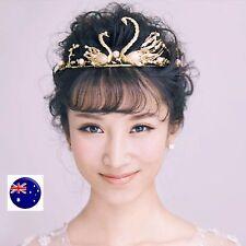 Women Girl Gold swan Wedding Bride Party Hair Headband Head Crown Tiara Prop