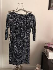 Ann Taylor Dress in Navy With White Polka Dots Women's Size 2