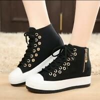 Women High Top Thick Bottom Canvas Shoes Side Zip Lace Up Creeper Zsell