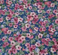 Country Florals BTY Unbranded Calico Flowers Pink Green Blue on Deep Blue