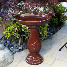Traditional Ceramic Pedestal Birdbath Antique Style Patio Deck Garden Decor Red