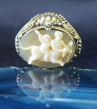bague cadeau Centaur zentaurus anneau argent sterling 925 COQUILLE camée