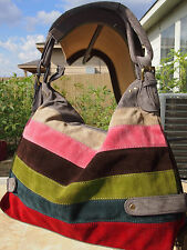 Gray Multi Color Striped Designers Inspired Handbag Brand New Suede Purse L@@K!