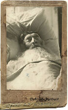 JUDAICA MAN WITH CLOSED EYES LYING IN BED 1915 CABINET PHOTO KREMENCHUG UKRAINE