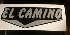"El Camino Vintage Travel Trailer black & silver letters 15"" long, decal set of 2"