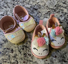 Lot of 2 Baby Girl Size 6-9 Months Shoe: 1 New Glitter Pink & 1 Used Unicorn