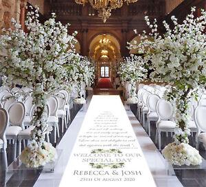 Personalised WEDDING AISLE RUNNER. Church Wedding Carpet Decoration.15ft-30ft