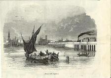 Stampa antica VENEZIA Ponte Ferroviario Treno 1860 Old antique print VENICE