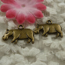 free ship 42 pieces bronze plated cattle charms 21x15mm #4339