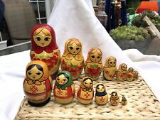 A+ Vintage 2 Russian Matryoshka 6/7 Piece Nesting Doll Set Lot Hand Painted USSR