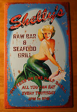 RAW BAR & SEAFOOD GRILL OYSTERS ON THE HALF SHELL Mermaid Beach Home Decor Sign