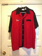 AWESOME NASCAR RED/BLACK BUTTON-UP BOWLING SHIRT SZ XL