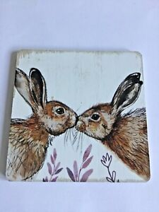 New Square wooden retro coaster kissing hare wildlife animal gift cute free p&p