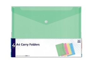 4 Pack A4 Carry Folders - Stationery School Office Colours Document Wallets