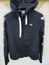 Veste ADIDAS à capuche noir girl femme Trefoil jacket giacca tracktop 42