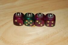 DUDDS DICE GREEN/PURPLE GEMINI w/GOLD DOTS VALVE STEM CAPS (4 PACK) #59