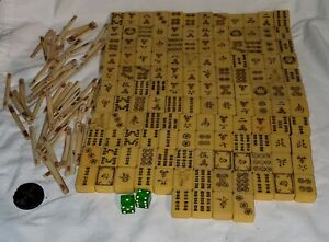 Vintage Mid-Century Japanese Chinese Mahjong Set 136Tiles 60 Bone counting stick