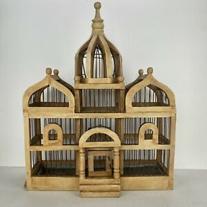 """Vintage 20"""" Wooden Wire Bird Cage Victorian Domed Cathedral Taj Mahal Boho Decor"""