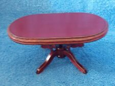 Miniature Dollhouse Mahogany Wood Oval Kitchen Dinning Room Table