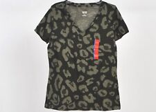 NEW Women's Junior Large Mossimo V-Neck stretchy SS Top: Olive Cheetah Print