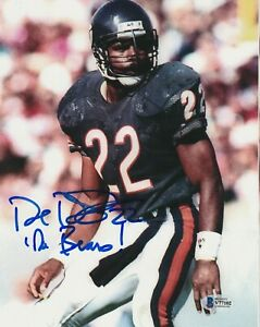 DAVE DUERSON Signed Chicago BEARS 8x10 PHOTO with Beckett COA & Inscription