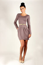 Womens Party Bubble Dress With Pockets Scoop Neck Mini Tunic Sizes 8-18 FT2521