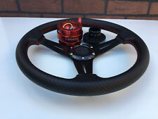 Carbon Red Stitching Steering Wheel + Quick Release Red + Hub Black Polaris RZR