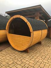 NEU 2,5m Fasssauna mit H-Panoramaglas Saunafass Außensauna Gartensauna Holzsauna