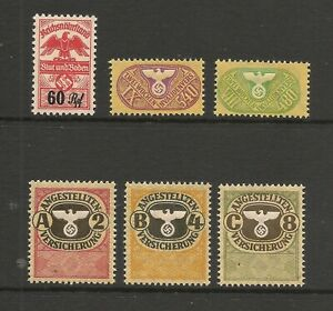 Germany Third Reich 6 Different Revenues Mint Never Hinged