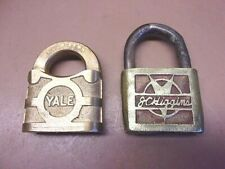 Two Early Brass Padlocks YALE & TOWNE & J.C. HIGGINS No Keys Neat Older Pair!