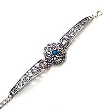 Wristlet Wristband Bangle Band Jewelry Timeless Blue - Silver Oxidized Bracelet